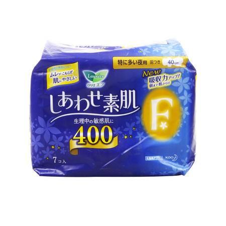 乐而雅F系列 量多夜用卫生巾 棉柔护翼 400mm 7枚