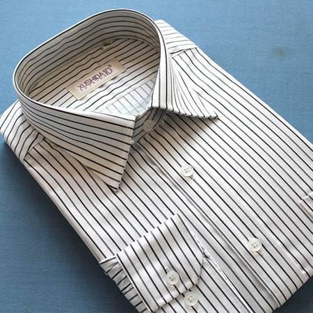 新款正品许世达男士长袖双丝光棉白底黑条商务休闲衬衫衬衣