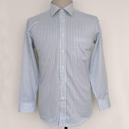 新款许世达男士纯棉商务衬衣正品男式双丝光棉长袖条纹衬衫