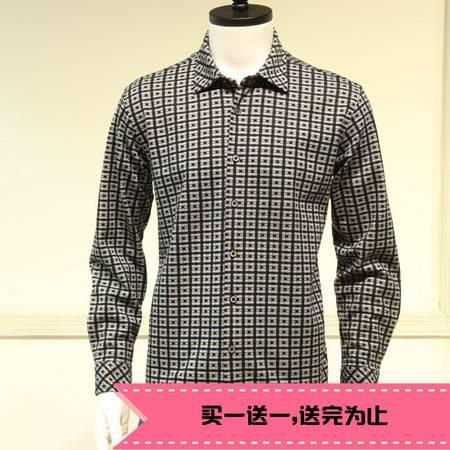 新款正品许世达男士长袖双丝光棉 商务休闲衬衣 保暖衬衣衫