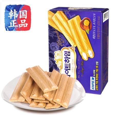 韩国进口零食品CROWN可来运可拉奥奶酪榛子瓦蛋卷饼干142g盒装