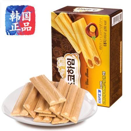 韩国进口零食品CROWN可来运可拉奥巧克力榛子瓦蛋卷饼干142g盒装