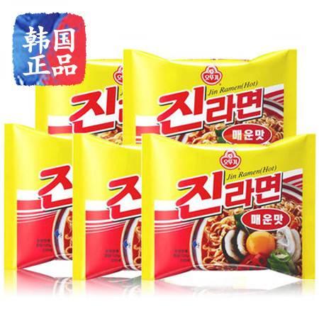 韩国进口方便面不倒翁奥土鸡辣味真拉面汤面拌面组合120g*5连包