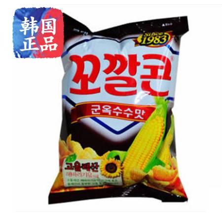 韩国进口休闲零食 乐天脆脆角烤玉米味妙脆角77g膨化食品非油炸