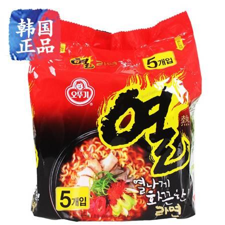 包邮韩国进口方便面不倒翁热拉面炒面拉面鸡肉味拌面组合120g*5连包