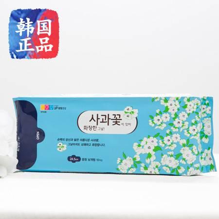 韩国进口正品苹果花无荧光剂中型卫生巾24.5厘米1包/10片