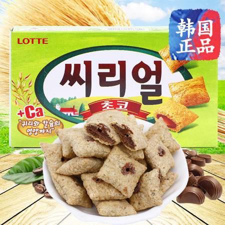 韩国乐天巧克力夹心燕麦饼干42g进口食品休闲零食饼干
