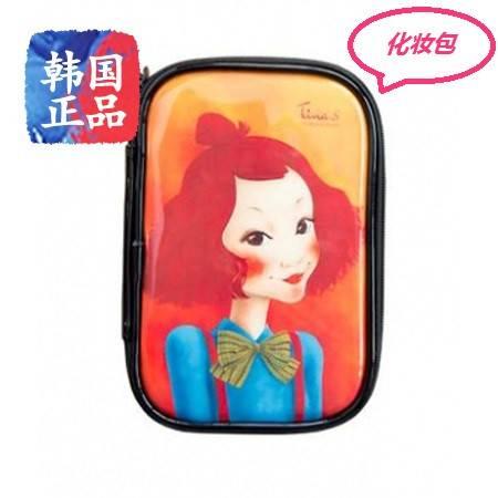 韩国正品Fascy 发希油画风唯美女孩化妆包  #3棕发文艺Tina