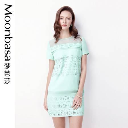 Moonbasa/梦芭莎优雅精致镂空烧花拼欧根纱圆领短袖显瘦连衣裙女