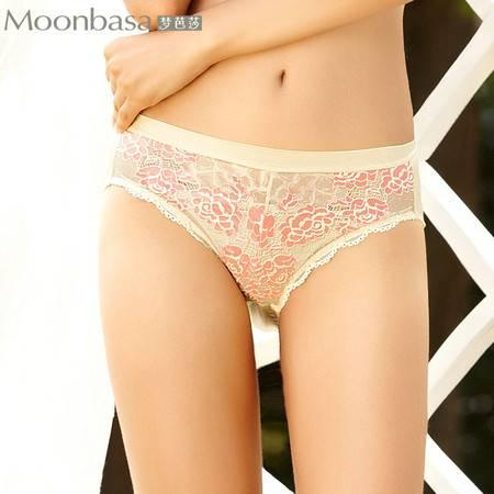 Moonbasa/梦芭莎经典情愫性感立体蕾丝光感舒适中腰三角女士内裤