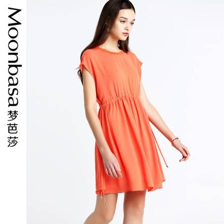 梦芭莎连衣裙女夏2016新款裙子抽绳收腰连衣裙a字裙两件套裙子