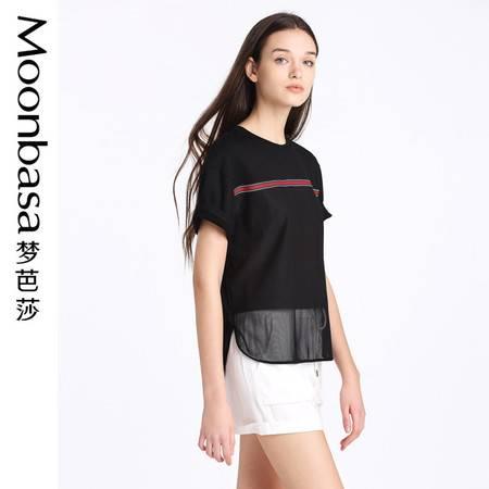 Moonbasa/梦芭莎欧美休闲女装针织拼接网布圆领短袖小衫T恤