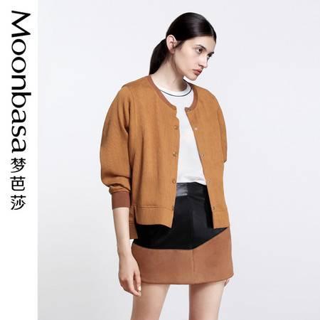 Moonbasa/梦芭莎条形肌理面料蝙蝠长袖宽松型开襟外套