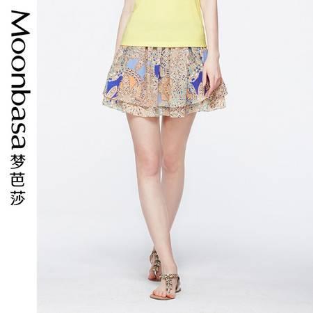 Moonbasa/梦芭莎复古民俗风清新飘逸拼接大A摆双层雪纺半身裙短裙