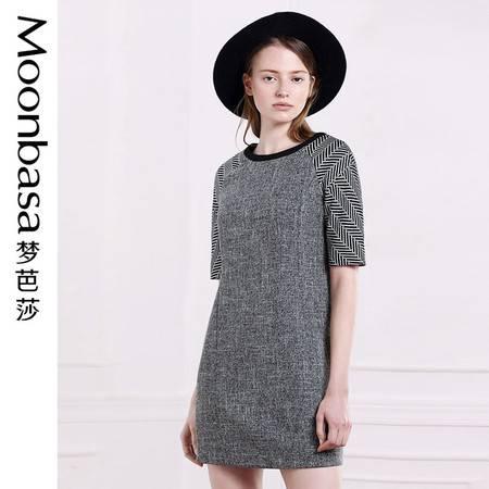 Moonbasa/梦芭莎优雅时尚麻纱拼接花式条纹插肩H形圆领短袖连衣裙