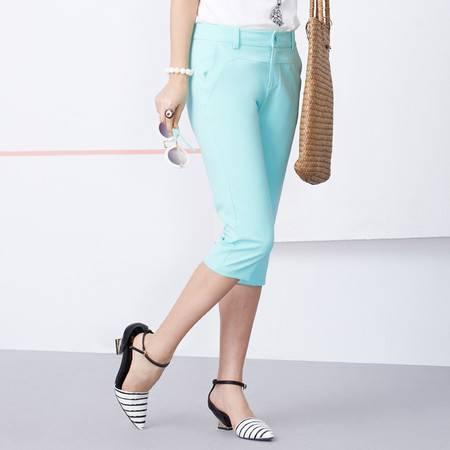 Moonbasa/梦芭莎休闲舒适独特弧形剪裁撞色花型低腰显瘦七分裤
