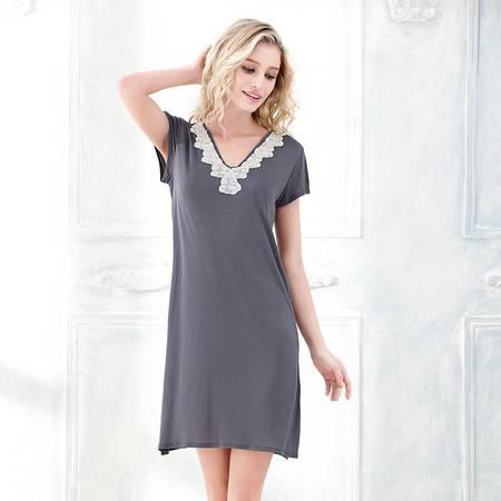 Moonbasa/梦芭莎精美刺绣蕾丝V领竹纤维家居服针织短袖长款睡裙
