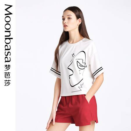 Moonbasa/梦芭莎2016夏季休闲宽松针织拼接风情印花圆领短袖T恤女