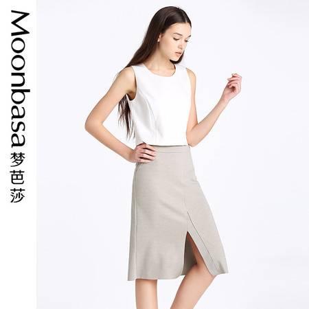 梦芭莎半身裙包臀裙一步裙开衩半身裙合身梭织简洁半裙