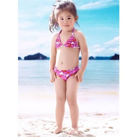 梦芭莎 梦幻紫荆印花可爱层叠荷叶边三角围分体女童温泉泳装