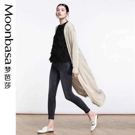 Moonbasa/梦芭莎中长款纯色直身开衫毛衣外套