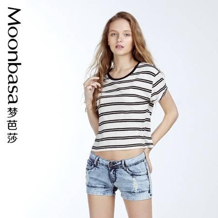 梦芭莎女装夏装2016条纹t恤女圆领套头短袖T恤女宽松