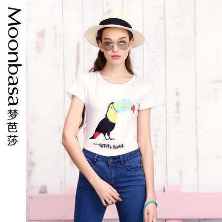 Moonbasa/梦芭莎日韩撞色鹦鹉卡通印花弹力针织棉圆领修身短袖T恤