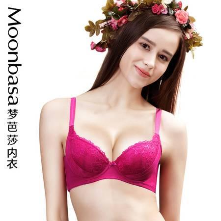 Moonbasa/梦芭莎樱桃派蕾丝内衣集中聚拢薄棉少女青春文胸胸罩