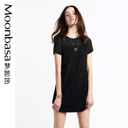 梦芭莎连衣裙2016夏季女装新款裙子雪纺连衣裙欧根纱拼接直身型裙