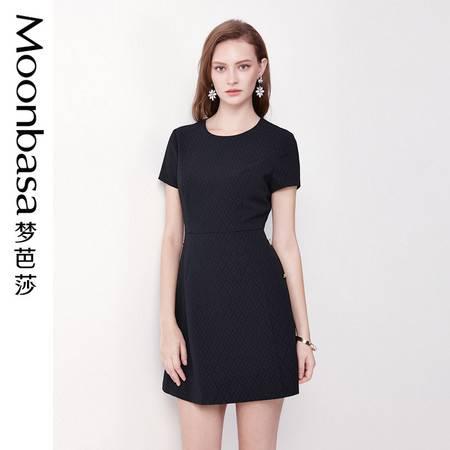 Moonbasa/梦芭莎时尚提花优雅气质修身显瘦A摆短袖名媛连衣裙