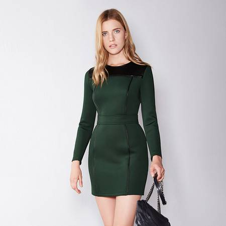 Moonbasa/梦芭莎欧美休闲时尚空气层拼接仿皮收腰显瘦长袖连衣裙