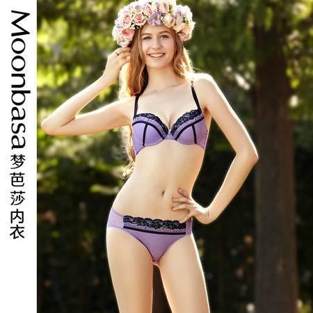 Moonbasa/梦芭莎樱桃派内衣聚拢薄模杯文胸胸罩低腰三角内裤套装