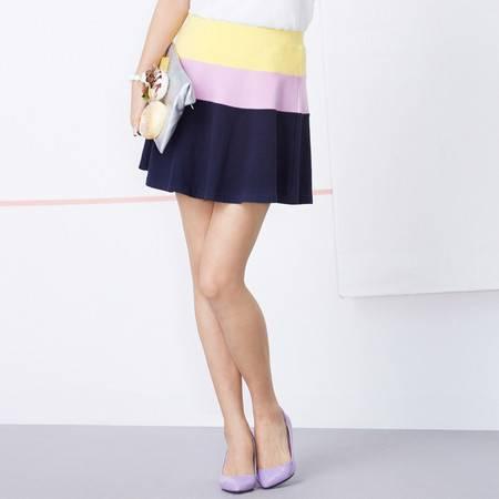 Moonbasa/梦芭莎甜美冰淇淋色拼接弹力棉高腰A字型大摆短裙半身裙