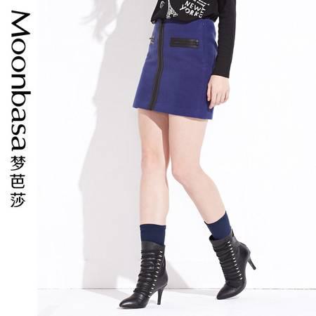 ING2ING时尚潮酷动感拉链呢料修身显瘦中高腰包裙半身短裙 女