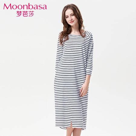 Moonbasa/梦芭莎时尚条纹亲肤棉套头圆领长袖宽松舒适家居睡裙女