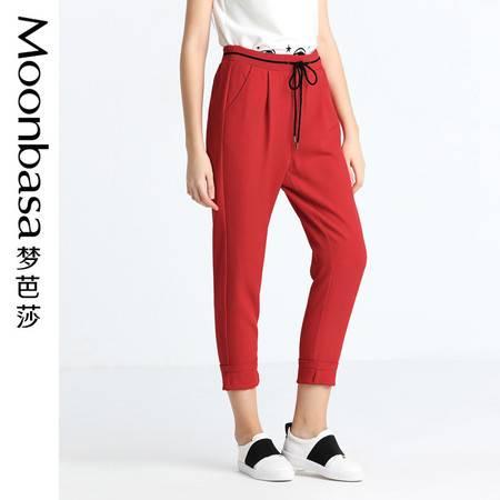 Moonbasa/梦芭莎欧美休闲女装修身梭织腰头撞色罗纹中腰休闲中裤