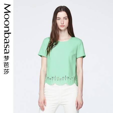 Moonbasa/梦芭莎欧美时尚民俗烧花直筒圆领肌理雪纺女短袖衬衫 夏