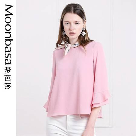 Moonbasa/梦芭莎优雅H型九分荷叶袖口泡泡纱小衫上衣女