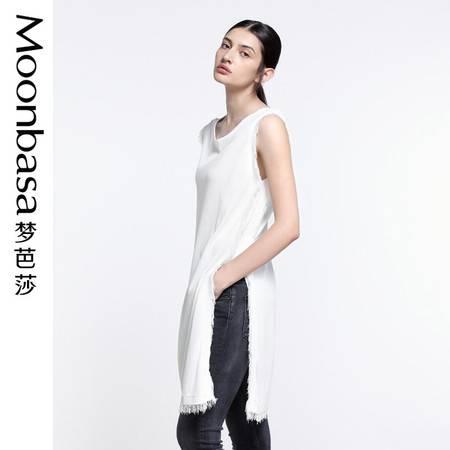 Moonbasa/梦芭莎简约优雅流苏装饰侧边开衩圆领无袖长款套头毛衫