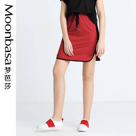 Moonbasa/梦芭莎针织运动感拼接设计休闲半裙