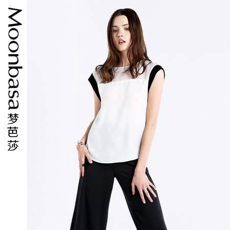 Moonbasa/梦芭莎时尚拼接纱质撞色小落肩宽松百搭小袖小衫