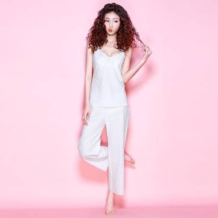 Moonbasa/梦芭莎素雅绣花小方格梳织棉布短吊长裤家居服套装