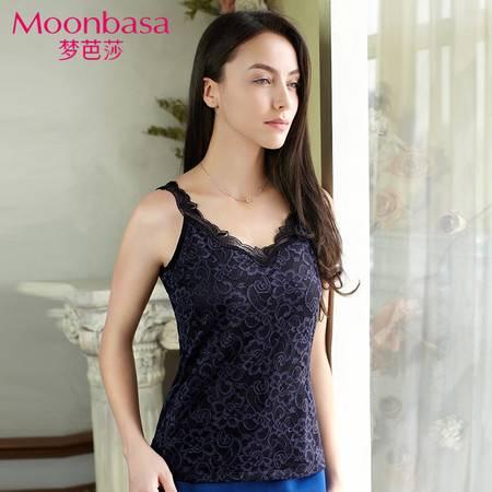 Moonbasa/梦芭莎梦芭莎蕾丝刺绣V领可外穿修身打底背心吊带上衣