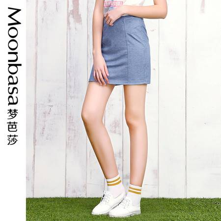 Moonbasa/梦芭莎日韩时尚休闲百搭仿牛仔弹力贴身修身包臀半裙