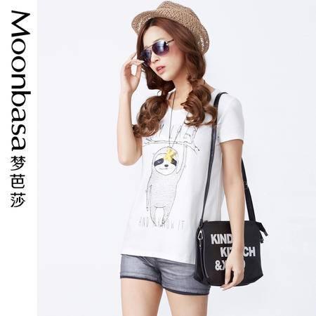 Moonbasa/梦芭莎日韩可爱树熊卡通弹力针织棉圆领短袖女T恤 夏季
