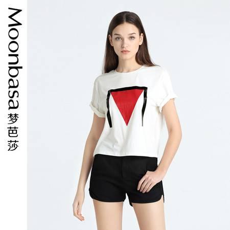 Moonbasa/梦芭莎宽松针织百搭印花圆领T恤