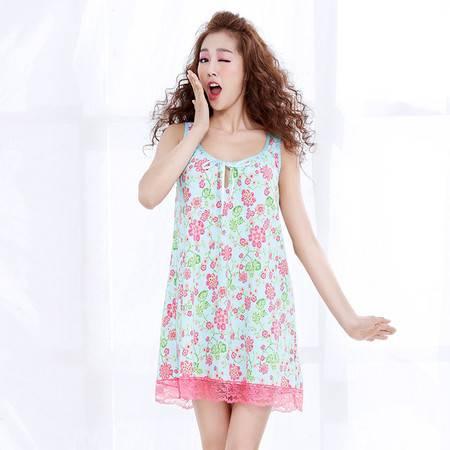 Moonbasa/梦芭莎田园风甜美印花全棉针织罗纹家居服背心长裙