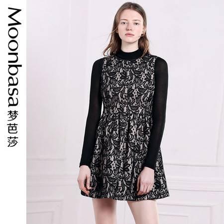 Moonbasa/梦芭莎优雅复古气质性感蕾丝立体修身显瘦V领无袖连衣裙