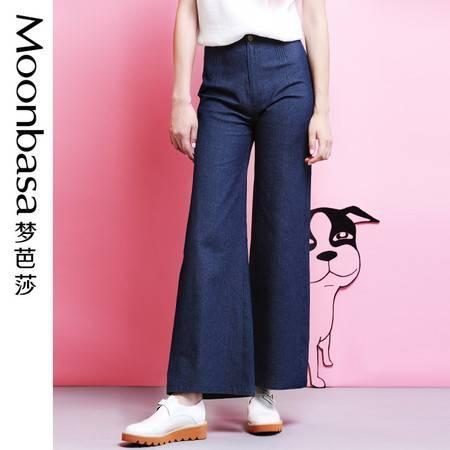 Moonbasa/梦芭莎韩伊儿腰头细褶装饰轻薄阔腿牛仔直筒喇叭长裤