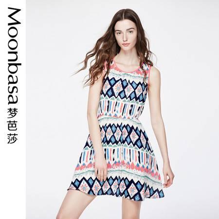 梦芭莎 3D几何数码印花松紧修身显瘦时尚无袖雪纺连衣裙